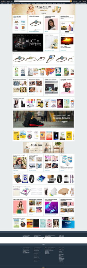 Prima pagina di Amazon